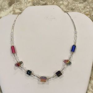 Sterling Silver Colorful Glass Bead Necklace